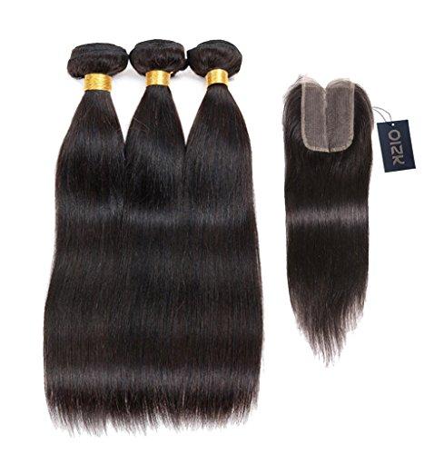 Oisk Extensions capillaires 3 pièces 300g Cheveux brésiliens;siliens Soyeux droite avec fermeture 4*4,milieu partie escamotable Noeuds 7A Cheveux non traiteacute;s Tissage cheveux humains #1B, 100g par paquet (14\\
