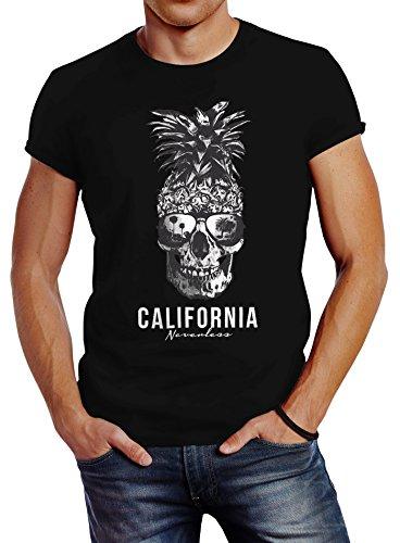 Neverless Cooles Herren T-Shirt Pineapple Skull Sonnenbrille Ananas Totenkopf Slim Fit Schwarz L