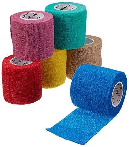 Verbände, Bandagen (6 x cohesive Bandage, Haftbandage, elastischer Fixierverband, Verband, elastische Binde, 5 cm)