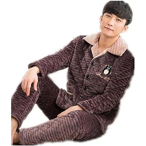 LIUDOU Pareja pijamas dulce espesa pijamas mujer Coral Fleece ropa trajes , b , xl