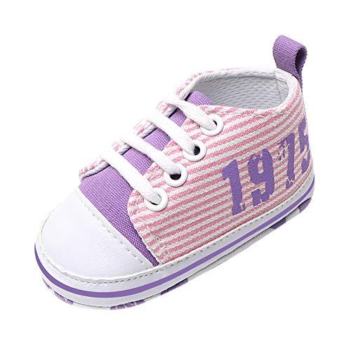 Kleinkind Schuhe feiXIANG weiche Schuhe Rutschfeste Krippe Schuhe Streifen Sneaker (Rosa,11)
