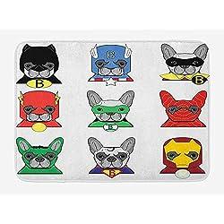 Superhero Bath Mat, Bulldog Superheroes Fun Cartoon Puppies in Disguise Costume Dogs with Masks Print, Plush Bathroom Decor Mat with Non Slip Backing, 23.6 W X 15.7 W Inches