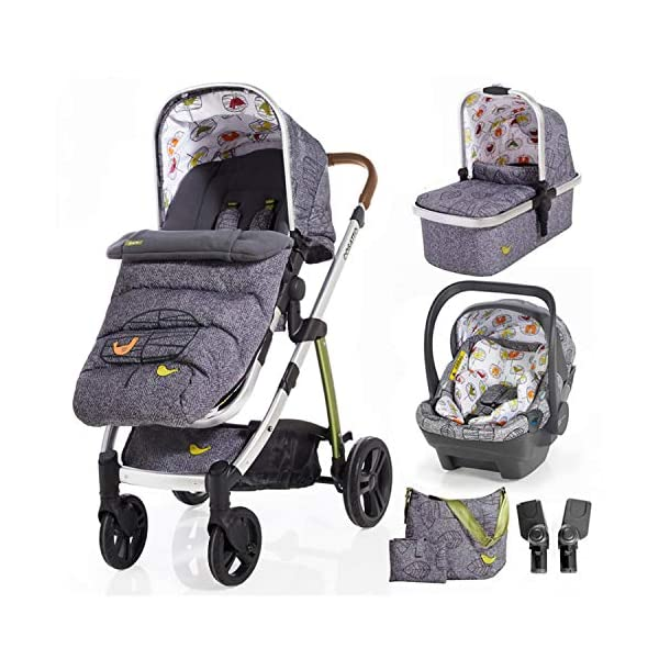 Cosatto Wow 3 in 1 isize Travel System Dawn Chorus with Dock car seat Bag footmuff & Raincover Cosatto Includes: Chassis,Carrycot,Seat unit,Dock isize Car seat,Car seat adapters,Footmuff,Change bag, Raincover & 4 Year guarantee(UK and Ireland only) Compact fold Telescopic, leatherette handle and Handy one-handed recline. One-hand release carrycot, One-hand adjustable leg rest and Super-sized basket with handy compartments 1