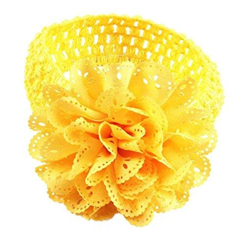 Mädchen Spitze Blume Haarband Stirnband Dress Up Kopfband (Gelb) ()