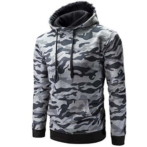 Männer Herbst Sweatshirt,Moonuy Männer Herbst Winter Langarm Camouflage Mit Kapuze Camouflage Sweatshirt Standard Tops Baumwolle Charme Schlank Bluse (Grau, L)