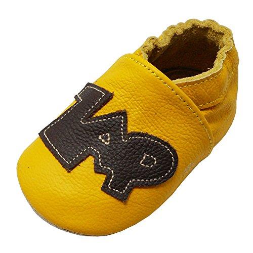 Pow Leder (Yalion Baby Weiche Leder Lauflernschuhe Krabbelschuhe Hausschuhe Lederpuschen Zap Pow in 3 Farben (17/18, Gelb))