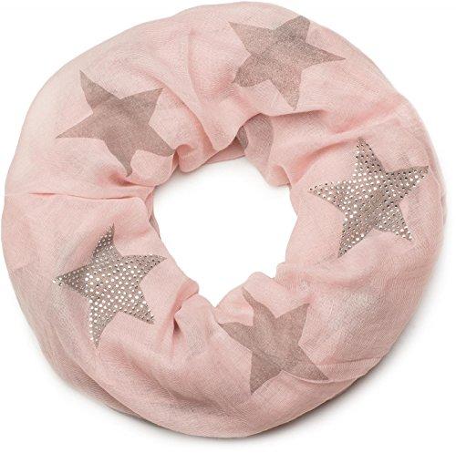 styleBREAKER Loop Schal mit Sterne Muster und edler Strass Applikation, Schlauchschal, Tuch, Damen 01018086, Farbe:Rosa-Taupe (One Size)