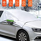 MATCC Car Windscreen Cover Snow Cover with Hook and Straps Exterior Waterproof Sunshade with Mirror Covers Front Window Shield Windproof in All Weather Fit for Most Car, SUV and Van