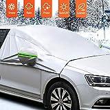 MATCC Frontscheibe Abdeckung Auto Scheibenabdeckung Winterschutz Faltbare Abnehmbare Autoabdeckung Winterabdeckung für die Windschutzscheibe gegen Schnee Frost Staub Sonne(245cm*166cm)