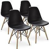 Juego de 4 sillas de Comedor de Estilo Moderno preensamblado Silla Moderna Blanca de Mediados de Siglo Comedor sillas Laterales de la Sala de Estar (Negro)
