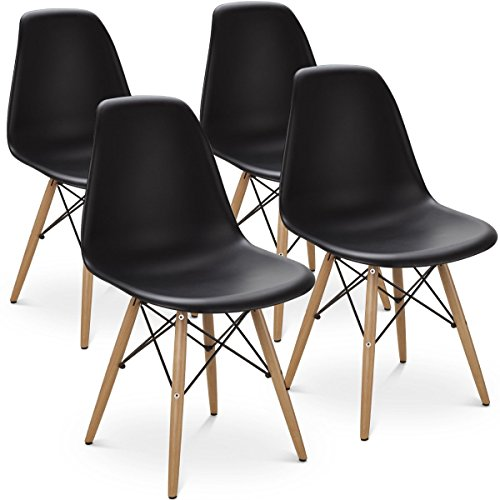 MeillAcc Satz von 4 vormontierten modernen Stil Esszimmerstuhl Mitte des Jahrhunderts weiß Moderne DSW Stuhl, Shell Lounge Kunststoff Stuhl für Küche, Esszimmer, Wohnzimmer Seitenstühle (Schwarz)