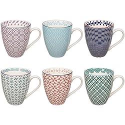Tokyo Design Studio Geometric Eclectic Tassen Set aus hochwertigem Porzellan. 6-er Set Tassen mit Henkel. Jede Kaffeetasse Teetasse fasst 300 ml. Trendy Farben. Spülmaschinenfest. Mikrowellengeeignet.