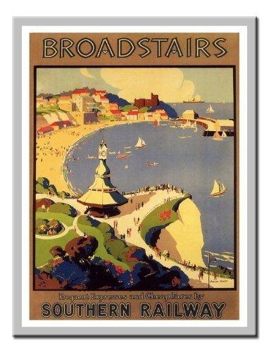 Broadstairs Rail Reise Print 1920er Silber gerahmt–41x 31cms (ca. 40,6x 30,5cm) (Rail Gerahmt)