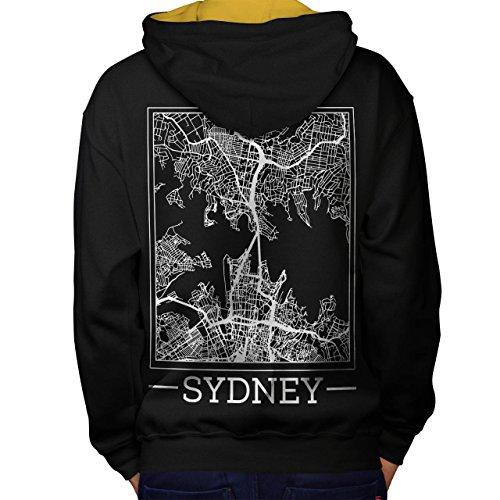 Australien Sydney Karte Groß Stadt Men M Kontrast Kapuzenpullover Zurück | (Billig Kostüme Sydney)