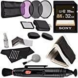 Sony 32GB UHS-I SDHC Memory Card (Class 10) + 58mm 3 Piece Filter Set (UV, CPL, FL) + Memory Card Wallet + SD/microSD Memory Card Reader + Lens Pen Cleaner + 5 Piece Lens Cleaning Kit Bundle