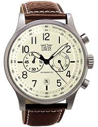 Davis �1023- Orologio Uomo Aviatore Vintage 42 mm - Quadrante Beige - Cronografo Stagno 50 M - Cinturino in Pelle Marrone