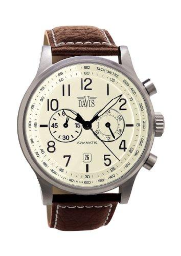 Davis-1023- Reloj Hombre Vintage Aviador 42mm - Esfera Crema Cronógrafo Sumergible 50M - Correa de Piel Marron con pespunte