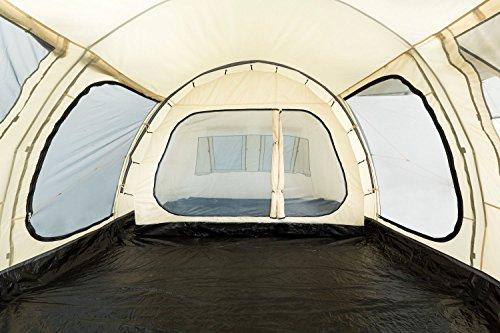 CampFeuer - Großes Tunnelzelt, Creme/schwarz, 5000 mm Wassersäule, Campingzelt - 7