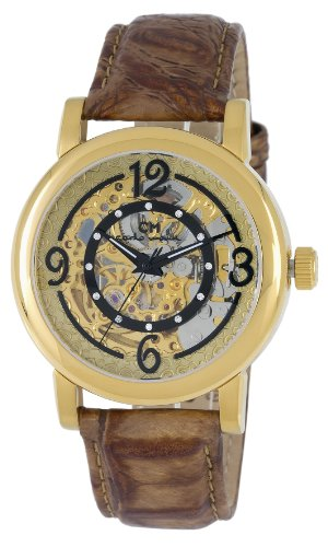 carlo monti ladies automatic watch with gold dial analogue display and brown leather strap cm120-200