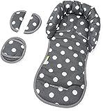 PRIEBES EMIL Sitzverkleinerer mit Gurtpolster | Universal-Set mit Kopfschutz & Sitzverkleinerer & Gurtpolster für jede Babyschale | atmungsaktiv| Schonbezug 100% Baumwolle, Design:polka anthra