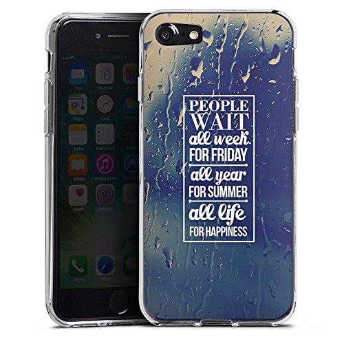 Apple iPhone X Silikon Hülle Case Schutzhülle Glück Sprüche spruch Silikon Case transparent