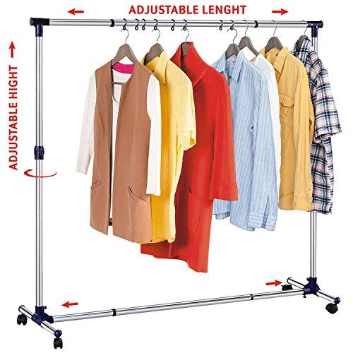 Tatkraft New York Stabiler Rollbarer Kleiderständer mit einer Starken Base Erweiterbar Breite und Höhe Stahl