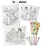XL Malset / Zeichenset - Disney Prinzessin - mit 6 Wachsmalstifte + 77 Sticker / Aufkleber - Malvorlagen - Princess Arielle Schneewittchen Rapunzel - für Mädchen Malbücher Farben Vorlagen / Malbuch