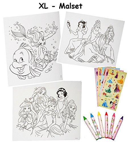 Unbekannt XL Malset / Zeichenset - Disney Prinzessin - mit 6 Wachsmalstifte + 77 Sticker / Aufkleber - Malvorlagen - Princess Arielle Schneewittchen Rapunzel - für ()
