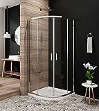 Duschkabine Viertelkreis 90 x 90cm Duschabtrennung Runddusche Schiebetür Duschtüren aus Glas Duschwand ohne Duschtasse Höhe 185cm klar