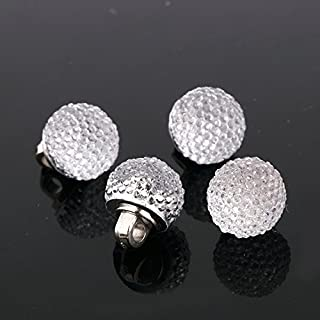 AB 20pcs Sew on BUTTONS Diamante Clear Acrylic Faceted Sparkle Crystal Gem Craft (AB7 - Globe - Silver)