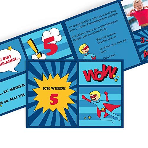greetinks Hochwertige Einladungen zum Kindergeburtstag | Verschiedene Designs auswählbar | Inkl. Druck Ihrer Texte | 'Comic Held' in Blau | 40 Stück | Geburtstag Kinder - Jungen & Mädchen