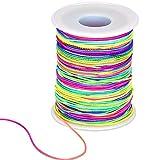 Tofree Elastische Schnur Schnur Regenbogen Farbe Faden Schnur mit 1mm Durchmesser für DIY Handwerk, 100m