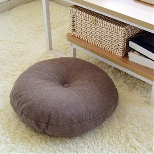 AINIYUE Sitzkissen für zu Hause, runde Form Baumwolle Leinen Sitzmatte, Seide Baumwolle Kernkissen, für die Dekoration Autosofa Pad 40x40cm Kaffee