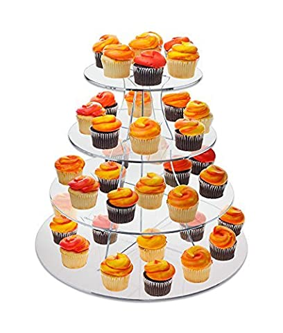 Source One Large 16 Inch 4 Tier Full Circle Riser Display Stand Cup Cakes , Figurines Etc. - Clear by SourceOne