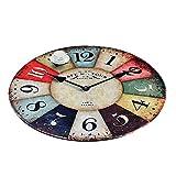 Alfombras Redondas Alfombra Circular Corta Pelusa Cesta Colgante De La Alfombra De Ratón, De Poliéster De 10 Mm Pared De La Vendimia Reloj Antideslizante La Decoración del Hogar