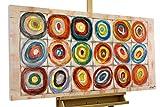 KunstLoft® Acryl Gemälde 'Kostbarkeiten' 120x60cm | original handgemalte Leinwand Bilder XXL | Abstrakt Kreise Bunt | Wandbild Acryl bild moderne Kunst einteilig mit Rahmen