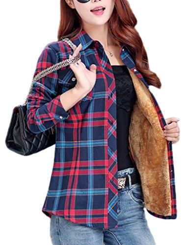 Bigood Femme Fashion Blouse Avec Velours Carreaux Chemise Slim Epais Manches Longue Bleu Clair Vert