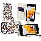 Emartbuy Wileyfox Spark Plus / Wileyfox Spark Wallet Etui Hülle Case Cover aus PU Leder mit Kreditkartenfächern - Schmetterlinge