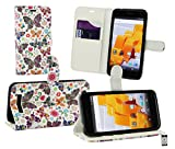 Emartbuy® Wileyfox Spark Plus/Wileyfox Spark Wallet Etui Hülle Case Cover aus PU Leder mit Kreditkartenfächern - Schmetterlinge