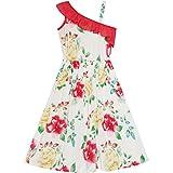 Sunny Fashion Vestido para niña Floral Un hombro Diseño El verano playa 12 años