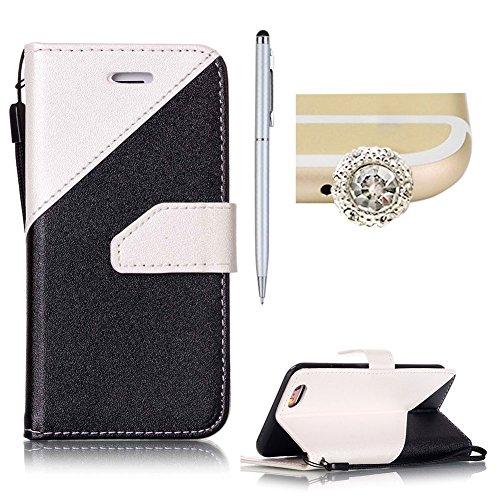 Per iPhone 6S/6 Plus Custodia in Pelle Morbida,SKYXD Flip Cover Borsa Portafoglio Wallet Libro Fronte Retro Full Body Protezione Completa 360 Gradi Coperture Protettiva di Elegante Colorata Similpelle Nero Bianco