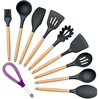 Homson 10 Pieces Kitchen Utensils Sets, Cooking Spoon Spatula Turner - Silicone with Wooden Handle - Heat Resistant Non Stick BPA Free