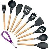 Set di utensili da cucina in silicone, Homson 10 pezzi Set di utensili da cucina manico in legno - cucchiaio da zuppa Spatola Turner resistente al calore antiaderente BPA (nero)