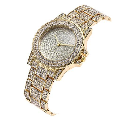 Luxus Damen Quarzuhr,Mode Kristall Diamant Uhren Leder Band Edelstahl Watch Jahrestag Proumy (A)