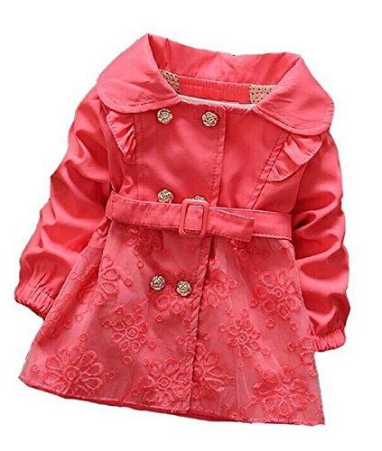 Aivtalk Baby Mädchen Trenchcoat Zweireiher Gürtel Spitzen Mantel Kleid Windjacke Baumwolle Oberkleidung Frühling Kinderjacke Winter Mode Outwear Größe 10# (18-24 Monate)