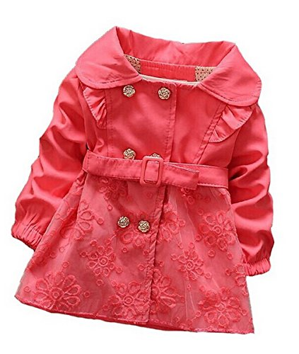 Aivtalk-Baby-Mdchen-Trenchcoat-Zweireiher-Grtel-Spitzen-Mantel-Kleid-Windjacke-Baumwolle-Oberkleidung-Frhling-Kinderjacke-Winter-Mode-Outwear-verschiedene-Gre-6-36-Monate-Rot