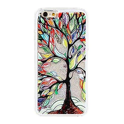 iPhone 3S, Iphone 6cas, newstars iPhone 6S/liquide 6cas, étui pour iPhone 3S/6,3d Creative Design Fluide Liquide flottant de luxe Love Hearts Bling Paillettes étoiles PC Coque rigide pour iPhone 3S/ Silver:Oil Tree