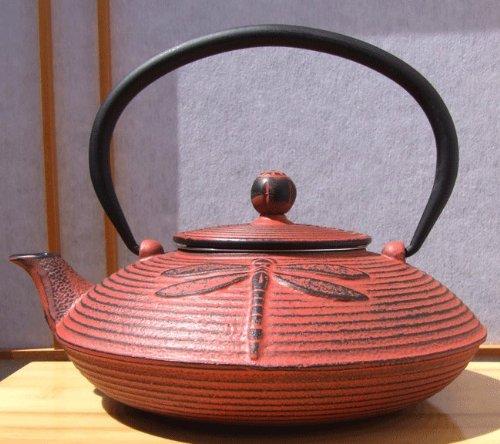 Cast Iron Sunset Red Dragonfly Tea set D – Tetsubin teapot kettle, trivet & cups (black) X2