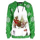 Mymyguoe Kapuzen Tops Frauen Sweatshirt Frohe Weihnachten Weihnachtsmann Schneeflocke Print Hooded Sweatshirt Bluse Langarmshirt Oberteile Outwear Pulli