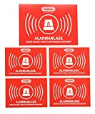 """5x ABUS """"Alarmanlage"""" Aufkleber 104x73 + 72x51 mm Sticker Warnhinweis Funk Alarmanlage Dummy Einbruchschutz rot Sicherung Haus Wohnung Objektschutz"""